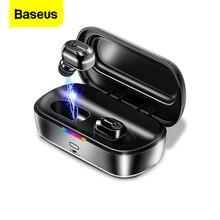 BASEUS W01 TWS Bluetooth 5.0 หูฟังไร้สายหูฟังมินิหูฟังไร้สายพร้อมไมโครโฟนแฮนด์ฟรีสำหรับiPhone Xiaomi