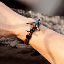 New Fashion Black Plated Stainless Steel Genuine Leather Aviation Airplane Anchor Bracelets from aviators Air Force Style(China)