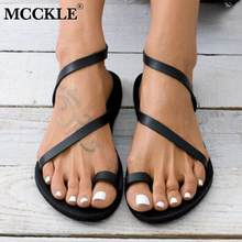 MCCKLE Women Summer Flat Sandals Rhinestone Thong Open Toe Woman Pu Leather Slip On Female Beach Shoes Ladies Fashion Footwear(China)