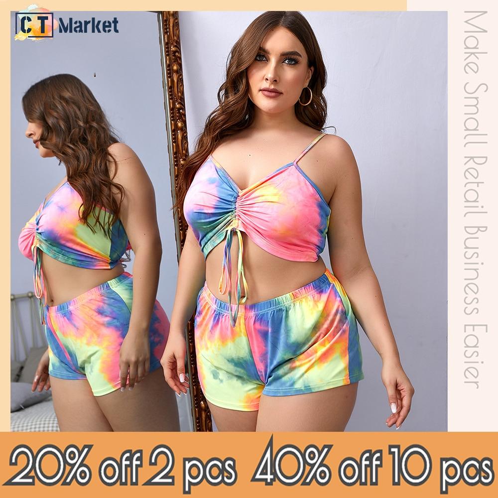 Plus Size Tie Dye Drawstring Top and Panty Women Lingerie Holiday Beach Sleepwear Underwear CT 12851