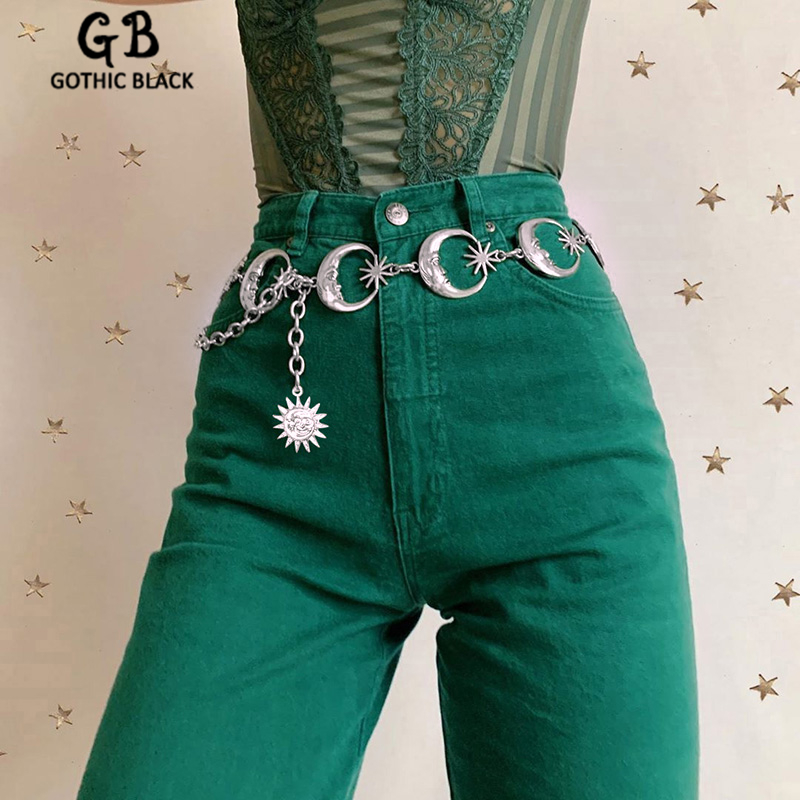 Gothblack Fashion Silver Sun Moon Pants Chain Gothic Punk High Waist Metal Chain Women Vintage Sliver Pendant Belts