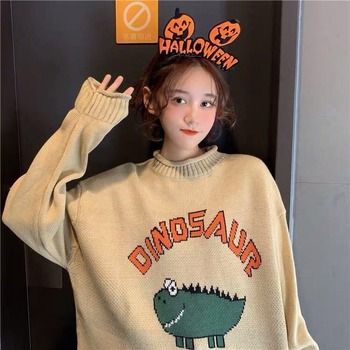 Funny Letter Dinosaur Sweater Women Harajuku Vintage O-neck Winter Pullover Long Sleeve Loose Knitted Oversize Sweater Warm Tops vintage cartoon knitted loose autumn winter sweaters women 2020 casual pullovers sweater oversize o neck long sleeve ladies tops