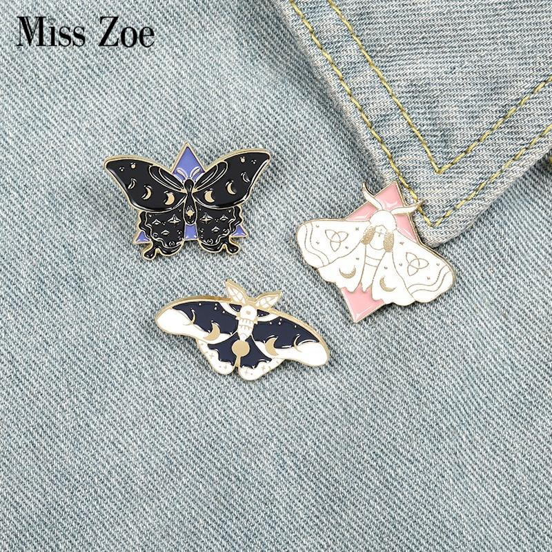 Эмалированные булавки в форме бабочки, изготовленные на заказ брошь в форме Луны, булавка для лацкана сумки, готический значок, ювелирное из...
