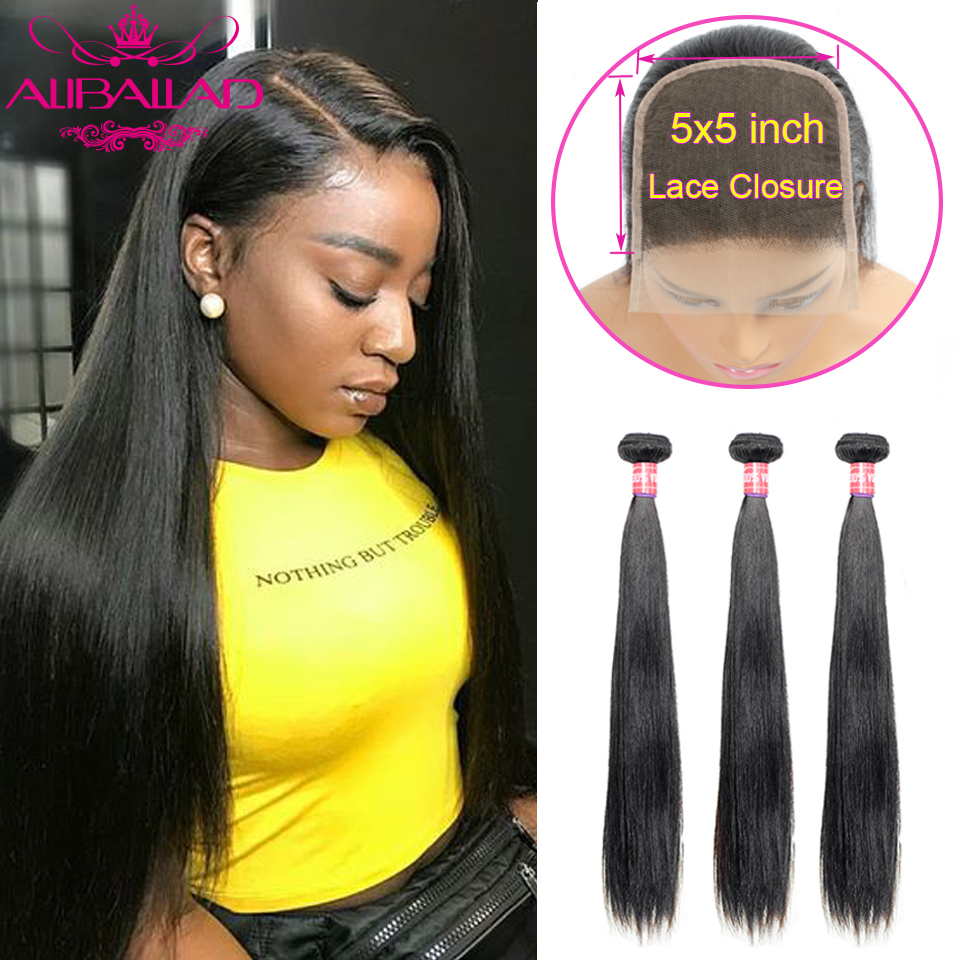 5x5 Brazilian Straight Hair Bundles With Closure Human Hair Weave 3 Bundles With Lace Closure Brazillian Remy Hair Extension
