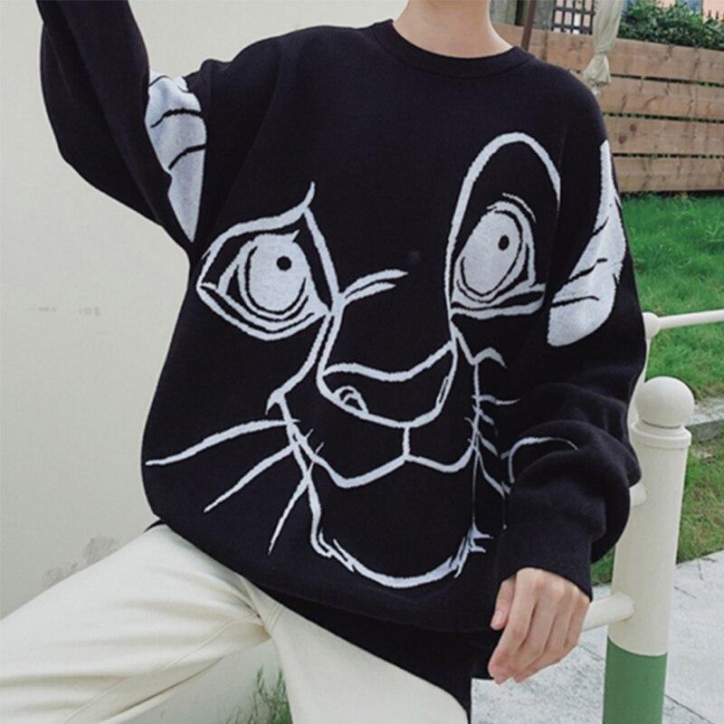 Image 2 - Свитер с принтом короля льва для женщин, осенне зимняя  повседневная Уличная одежда с длинными рукавами и круглым вырезом,  свободные свитера в стиле Харадзюку, Женский ТопКардиганы   -