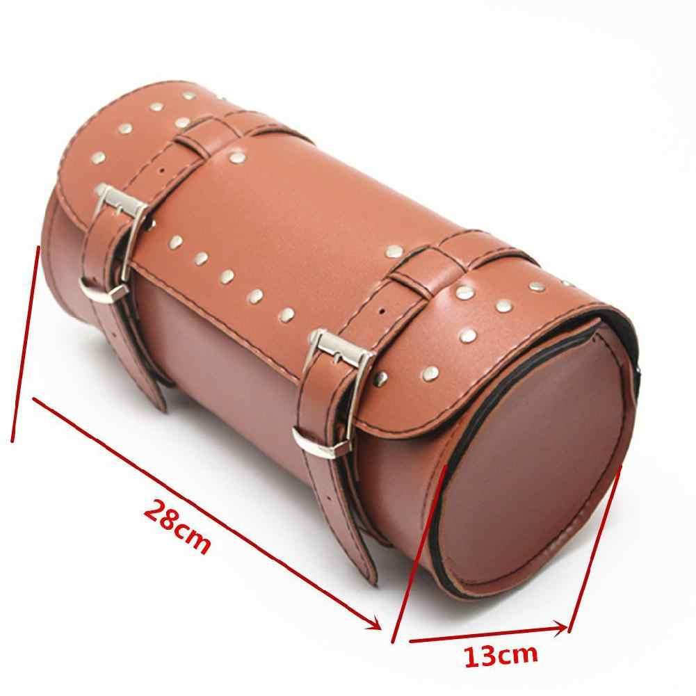 Moto brązowy skórzany bagaż motocyklowy narzędzie rolka torebka podsiodłowa pokrowiec ochronny Case motocykl Motorcross siodło akcesoria do toreb
