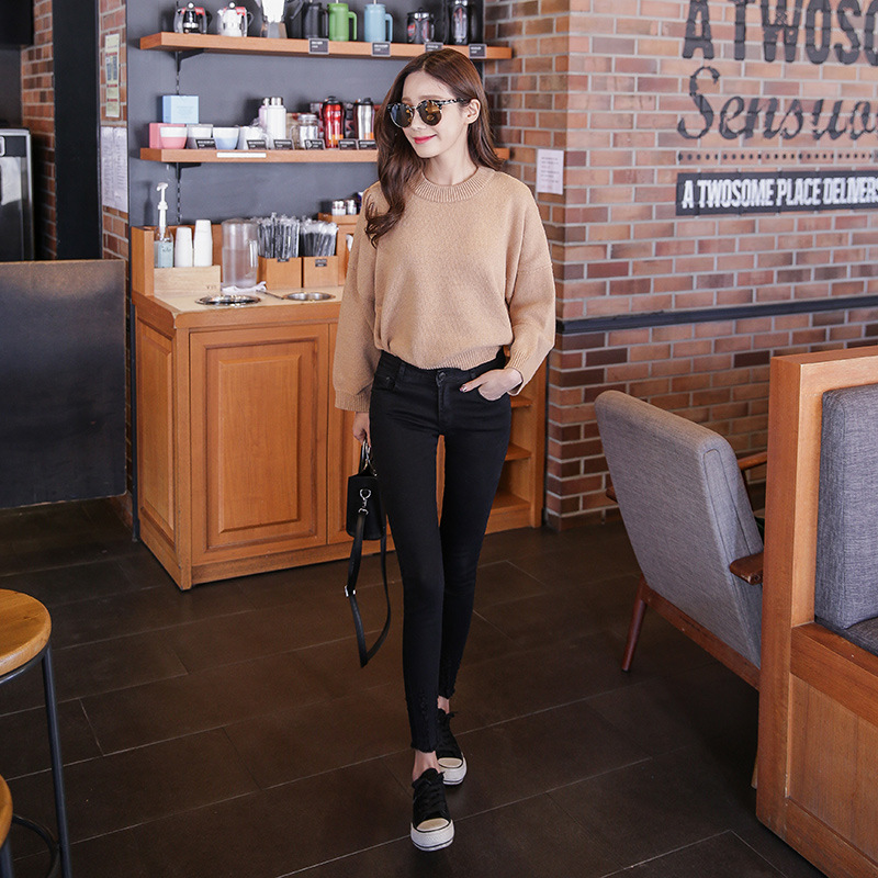 2019 Spring Slim Fit Elasticity Skinny Denim (Ankle-length Pants) Female Black Gray Blue