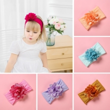 1pcs Cute Flower Nylon Headbands for Girls Stretchy Hair Accessories Headwraps Soft Hairwear Elastic Hairbands Wide Turban