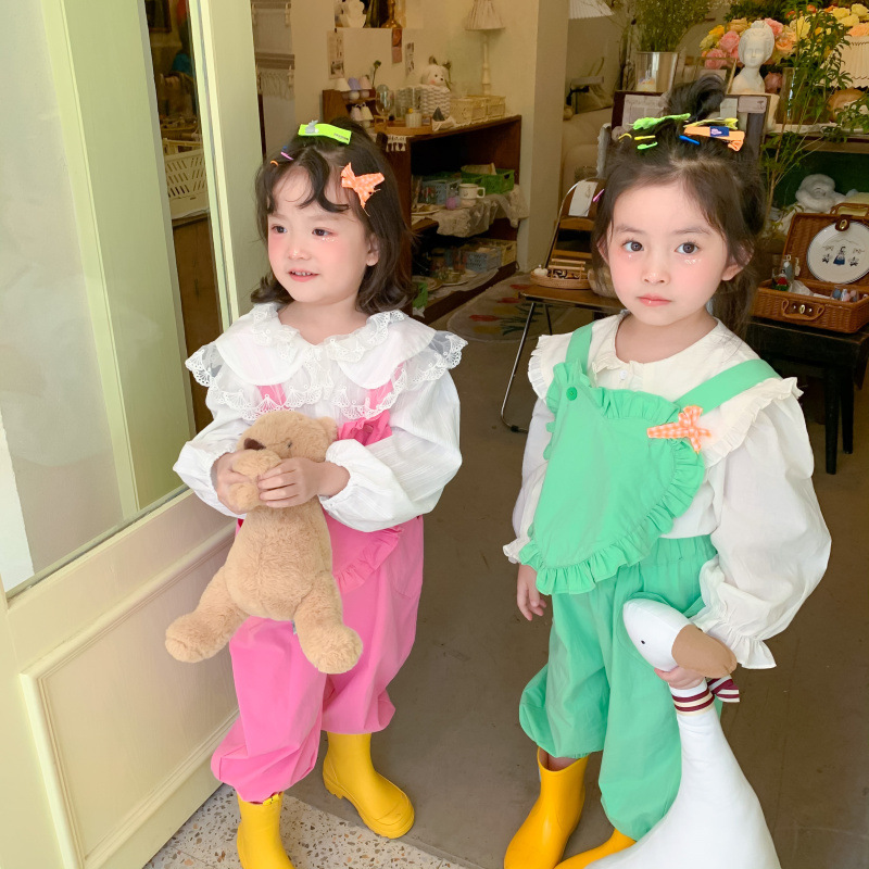 2021 Spring New Arrival Girls Fashion Cotton Overalls Kids Heart Overalls  Kids Jumpsuit 3