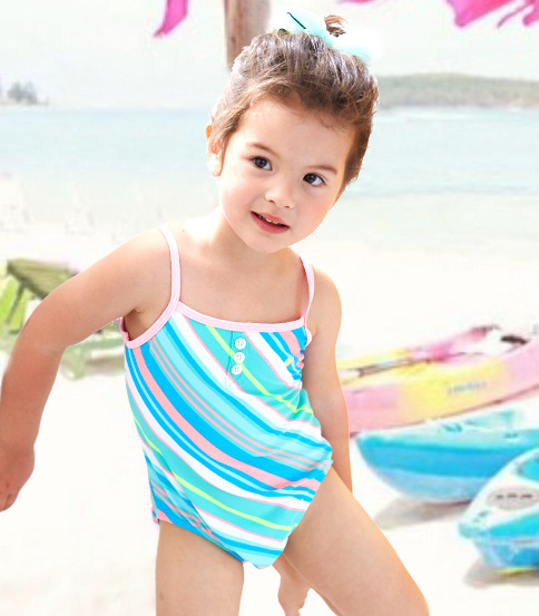Europe And America New Style KID'S Swimwear Small Children GIRL'S Stripes Button European And American Minimalist Elegant One-pi