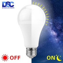 LED Dusk To Dawn Sensor Light Bulb E27 5W 7W 9W 12W AC 110V 220V 85-265V Day Night Light Auto ON/OFF LED Smart Lamp For Garden