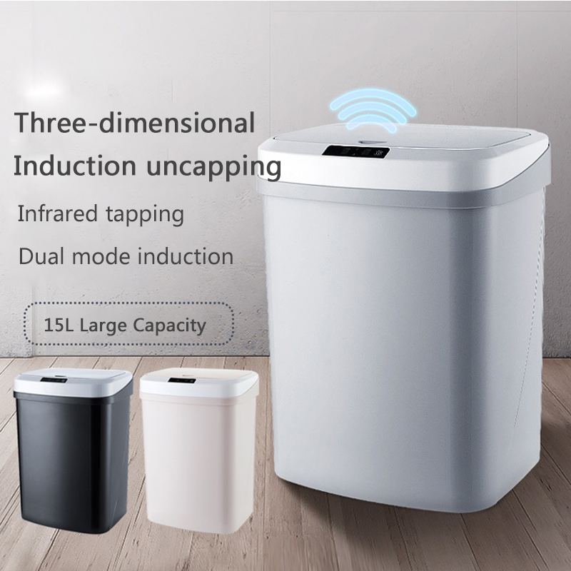 Rechargeable Smart Sensor Mute Automatic Trash Bin With Odor-Absorbing Filter Waste Bin
