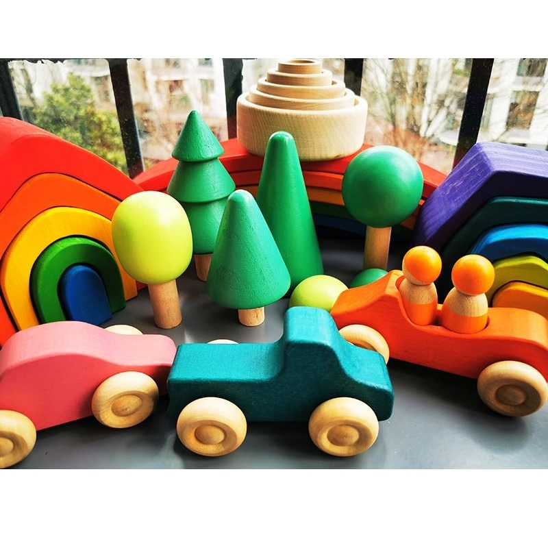 Baby Wooden Toys Elemental Rainbow Stacking Blocks / Wooden Tree Building Blocks Car Volcano Coral Sea Wave Montessori Toy Gift