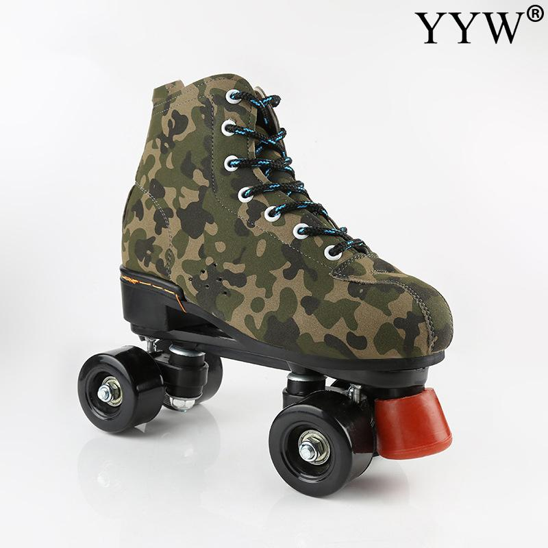 2021 New Army Green Flash Cowhide Leather Roller Skates Double Row Skates Adult 2 Line Road Skating Shoes Girl Women  4 Wheels