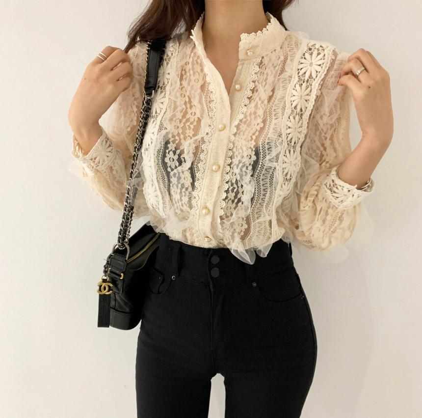 H3fe3de6fad6e4a6c8821643ebf87f155S - Spring / Autumn Stand Collar Long Sleeves Crochet Flower Lace Blouse