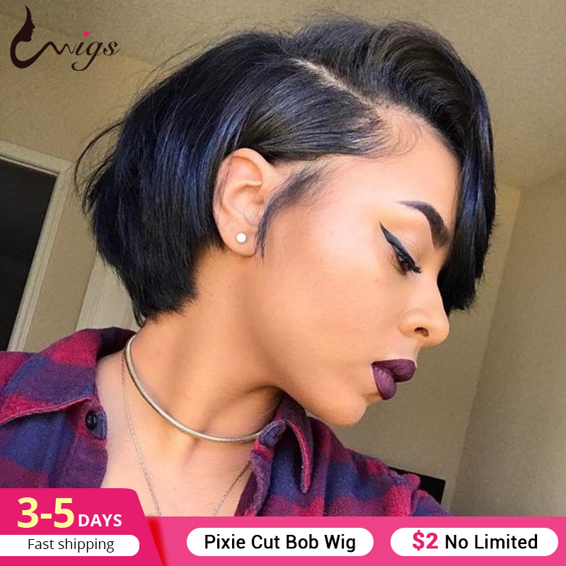 UWIGS Piexie Cut Wig Short Straight Bob Wigs Human Hair Wigs Brazilian Remy Hair Wigs For Black Women Straight Pixie Cut Bob Wig