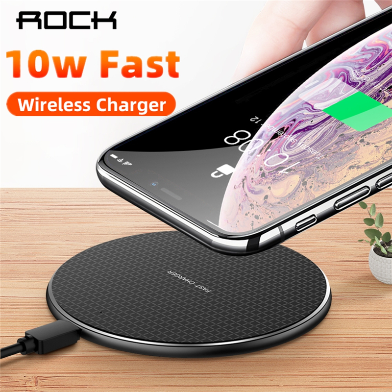 ROCK 10W Fast Wireless Charger For iPhone 11 X XS MAX XR Quick Charge 3.0 Qi Wireless Charger Pad For Samsung Xiaomi(China)