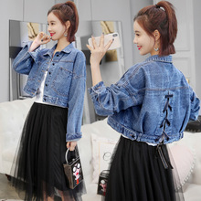 Womens Spring Casual Lapel Short Jacket Denim Coat Lace up Strappy Sweet Outwear цена 2017