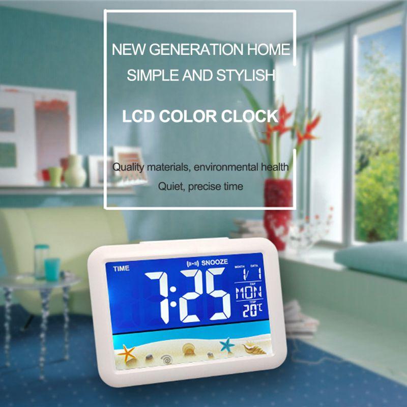 Color Screen Digital Calendar Alarm Clock Large Screen Electronic Clock Home Decor Desktop Clocks Toys