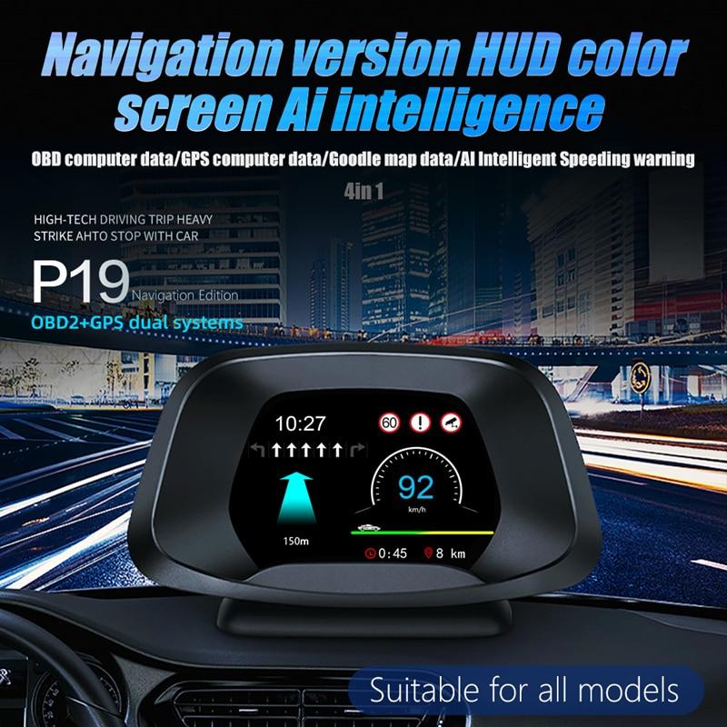 Автомобильный дисплей на лобовом стекле 2 в 1 p19 дополнительная