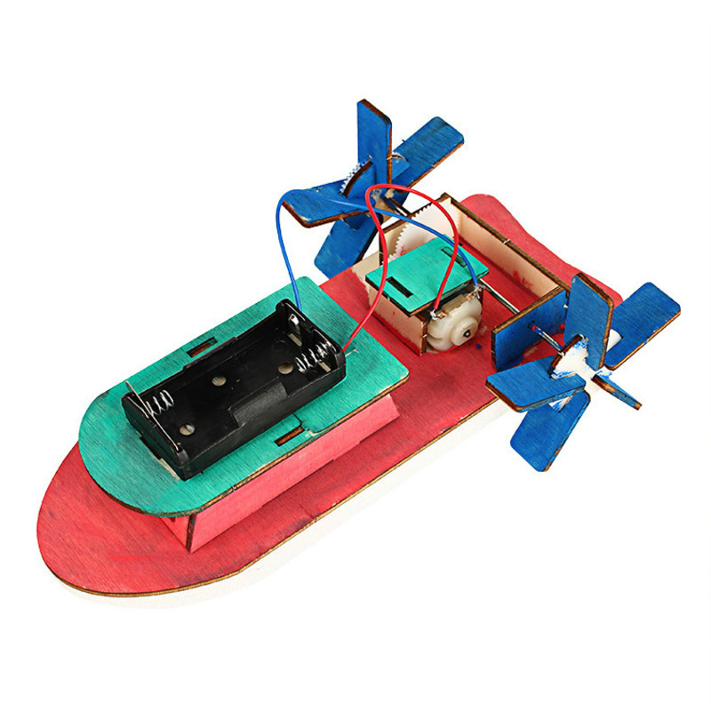 Kids Science Toy Electric Motor Boat Wooden Kit Physics Experiment Educational Toy For Children School Electric STEM Brinquedos