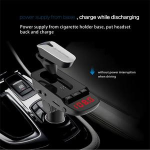 car bluetooth earphones fm transmitter car kit Hands Free mp3 player wireless radio AUX car charger USB SD music with switch(China)