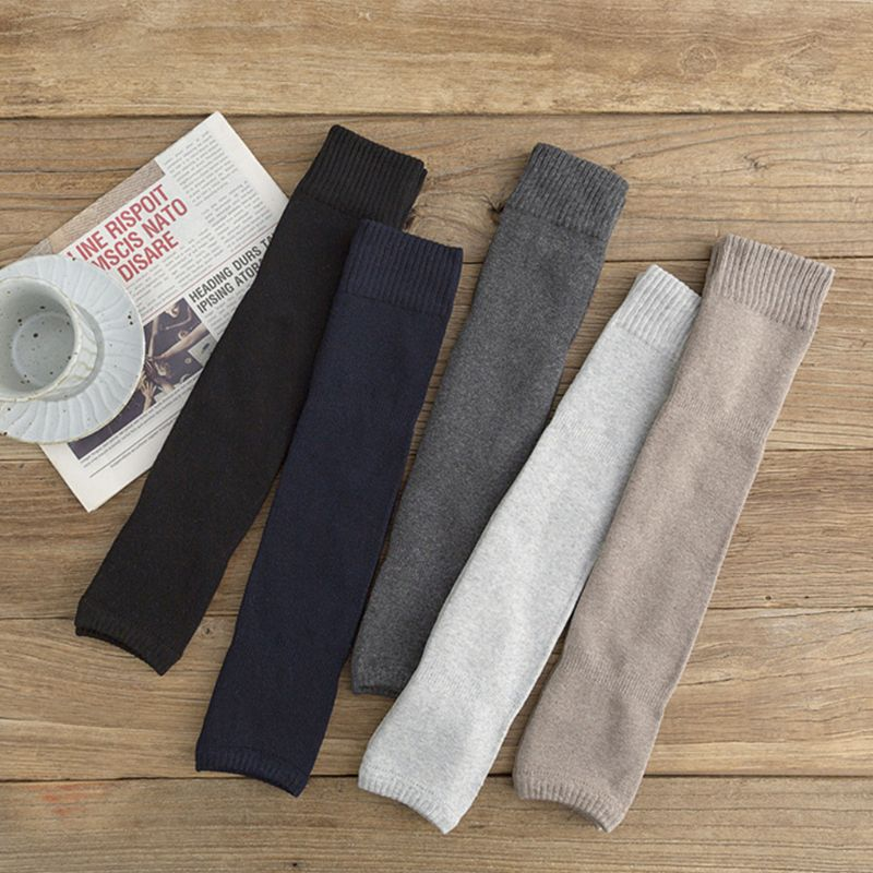 Women Winter Over Knee High Footless Socks Knit Thicken Towel Lined Leg Warmers