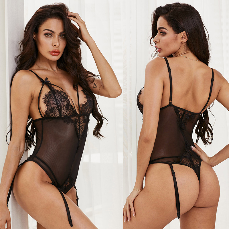 SEBOWEL 2019 Black Removable Suspender Lace Teddies Bodysuit for Women Sexy Mesh Under wear Female Sheer Floral Lace Body Tops