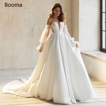 Simple Off the Shoulder Wedding Dresses Long Sleeves Strapless Pleated A-Line Bride Open Back Train Gowns