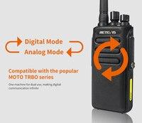 מכשיר הקשר 2pcs 10W דיגיטלי מכשיר הקשר IP67 Waterproof DMR Retevis RT81 32CH 2Zone UHF 400-470MHz Encryted מקצועי שני הדרך רדיו RU (2)