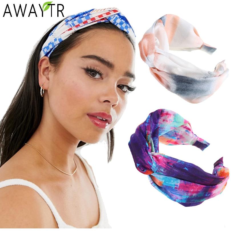 AWAYTR Womens Headband Printing Twist Hairband Bow Knot Cross Tie Cloth Headwrap Hair Band Hoop Hair Bands Accessories Tiaras