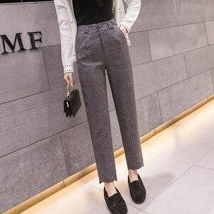 Image 5 - S 2xl סתיו החורף משובץ צמר הרמון מכנסיים נשי 2020 קרסול אורך גבוהה מותן מכנסיים הרמון מכנסיים נשים בתוספת מכנסיים נשים