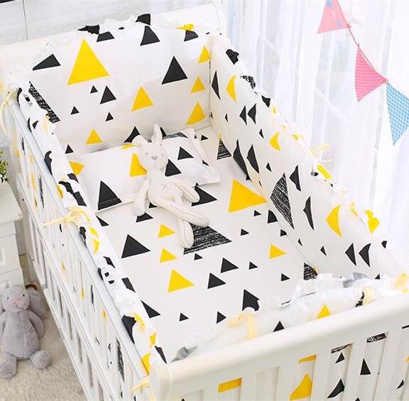 6pcs Crib Bedding Set For Boys Nursery Bedding Crib Set, Nursery Bedroom Bedding Soft Kit De Berço, 4bumper+sheet+pillowcase