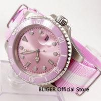 핑크 uniex nologo bliger 40mm 사파이어 크리스탈 miyota 자동식 무브먼트 남자 손목 시계 자동 날짜