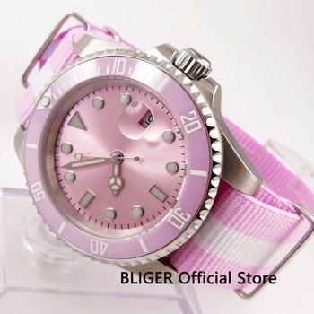 Różowy Uniex Nologo BLIGER 40MM Sapphire kryształ MIYOTA mechanizm automatyczny ruch mężczyzna zegarek na rękę Auto data w Zegarki mechaniczne od Zegarki na