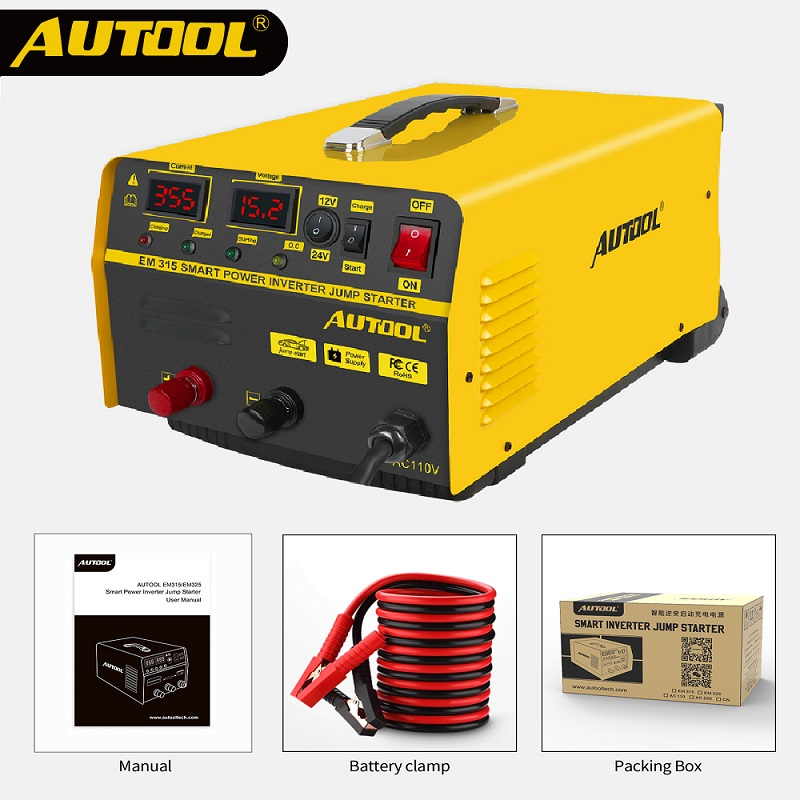 AUTOOL EM315 2 in 1 <font><b>Car</b></font> Jump Starter 12/24V Quick Charge Concealed Lever Auto <font><b>Battery</b></font> <font><b>Charger</b></font> with LCD Display & Jumper <font><b>Cables</b></font> image