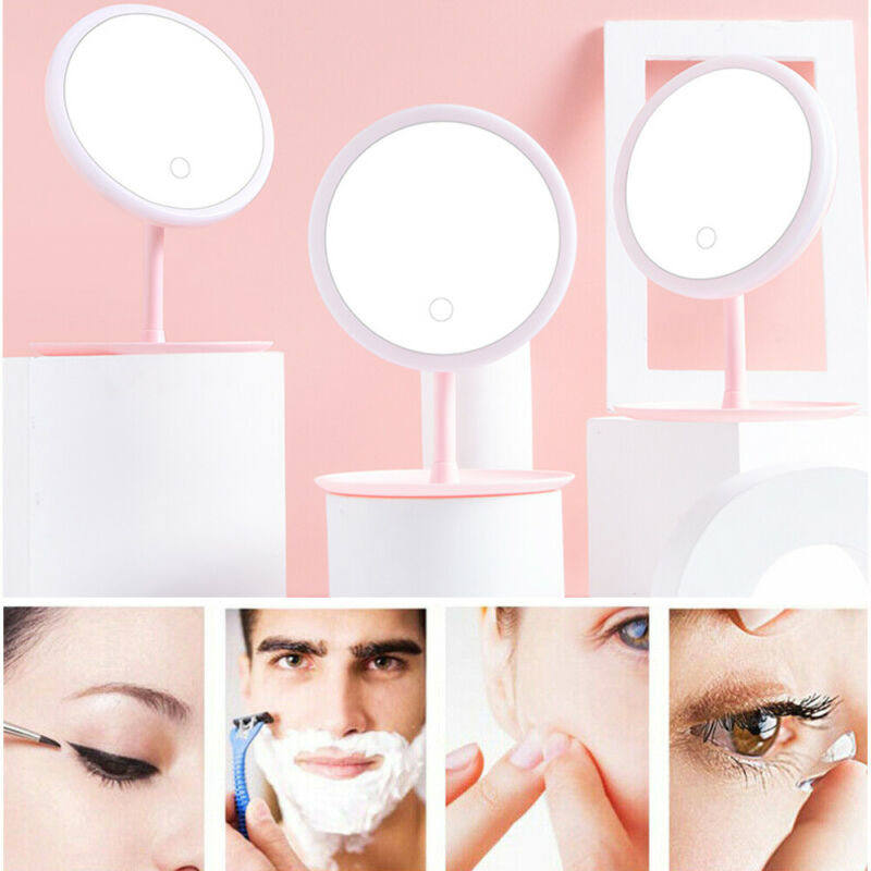 LED Touch Screen Make Up Mirror Light Illuminated Round Cosmetic 360° Rotation Tricolor Light Monochromatic Light Dropshipping