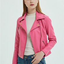 Короткая Байкерская кожаная куртка из искусственной кожи, Женская Осенняя тонкая молния, розовый кожаный пиджак из мягкой искусственной кожи, женские черные женские пальто