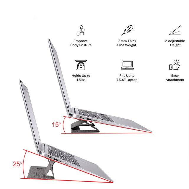 Regulowany niewidoczny stojak na laptopa lekki stojak na komputer samoprzylepny składany uchwyt przenośny uchwyt na Tablet do ipada