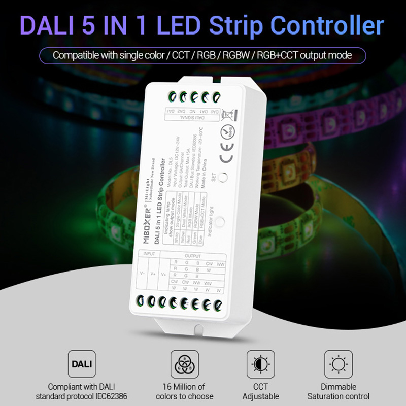 MiBOXER DC12V-24V DALI 5 IN 1 LED Strip Controller DL5 15A Dimmer For Single Color/CCT/RGB/RGBW/RGB+CCT Led Strip Light