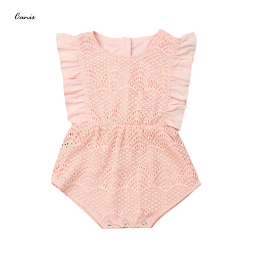 Adorable Newborn Baby Girls Romper Solid Sleeveless Casual Cute Outfits Kids Clothes Set Sunsuit Playsuit