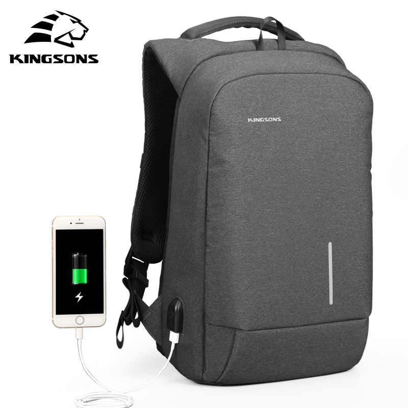 Kingsons 13.3 15.6 Inches Men Women Laptop Backpack External USB Charge Anti-theft Wearable Waterproof Backpacks Fashion Bags