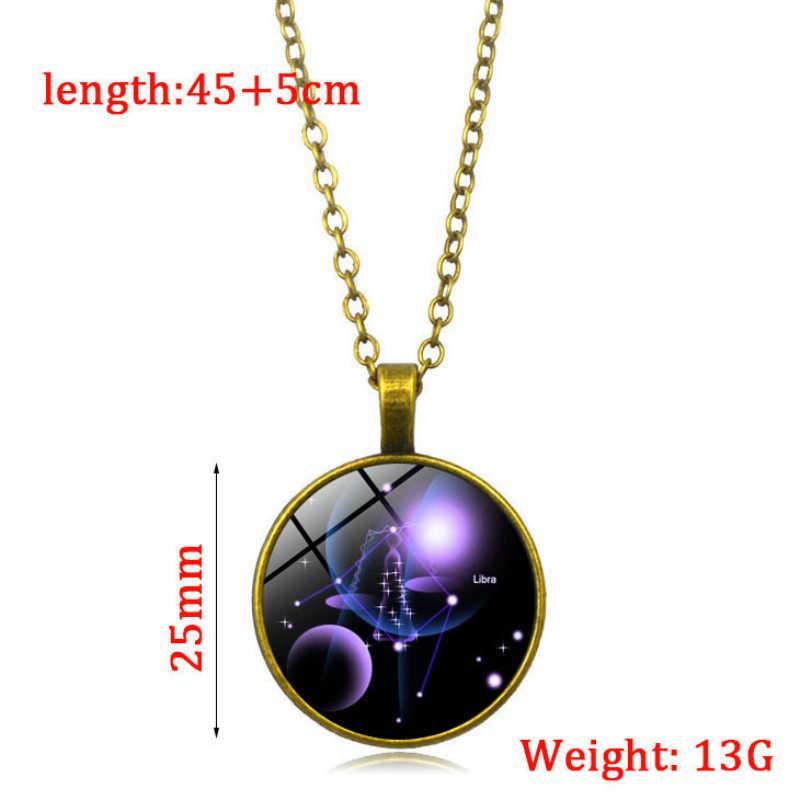 COLLAR COLGANTE de cristal con patrón luminoso clásico de 12 Constelaciones que brilla en la oscuridad cadena retro sweater mujeres hombres joyería de pareja