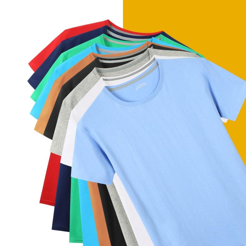 Футболка женская с круглым вырезом, базовая Однотонная рубашка из 100% хлопка, с простым логотипом, лето