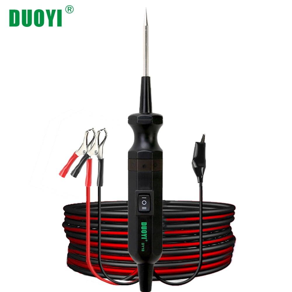 DUOYI DY18 тестер цепи автомобиля мощность зонд автомобильный диагностический инструмент 12 В 24 в электрический ток напряжение встроенный блок ...