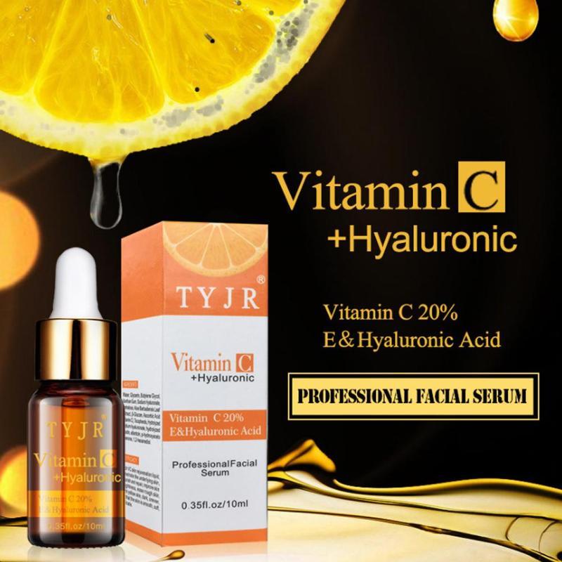100%10ml Pure Vitamin C Liquid Serum Plaque Acne Scar Hyaluronic Acid Anti-wrinkle Facial Color Change Dark Spot
