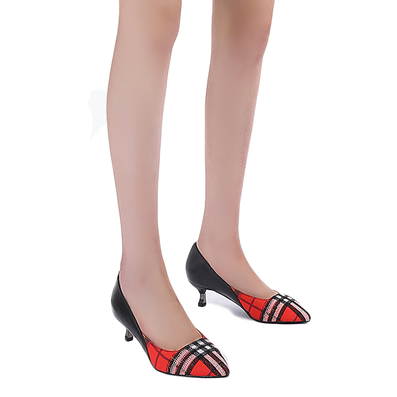 2019 Brand Design Ins Hot Style Genuine Leather Pumps Women Pointed Toe Plaid Thin Heeled Sexy women's Office Pumps
