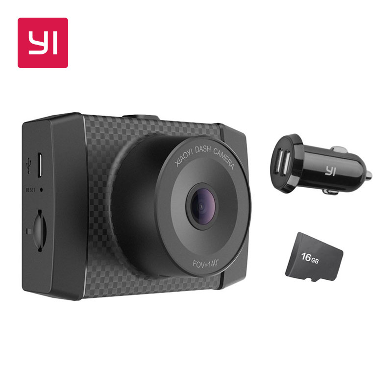 Yi ultra dash câmera com 16g cartão preto 2.7 k resolução a17 a7 chip de núcleo duplo controle de voz sensor de luz de 2.7 polegadas widescreen