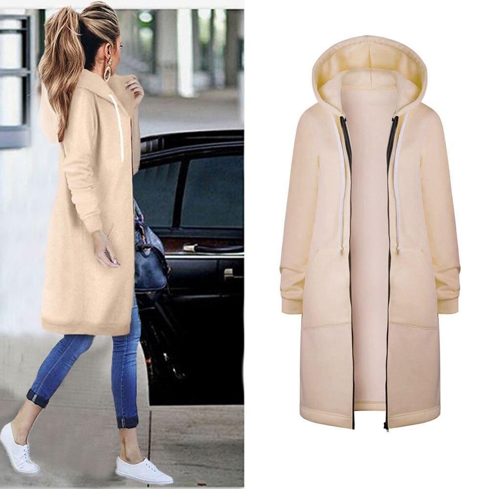 2019 Spring Autumn Women Warm   Basic     Jacket   Zipper Hooded Hoodies Outwear Sweatshirt Long Coat   Jacket   Windbreaker d2