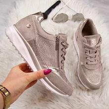 Kobiety obuwie 2020 nowych moda klinowe płaskie buty na zamek błyskawiczny zasznurować wygodne damskie trampki damski, wiosenny buty wulkanizowane